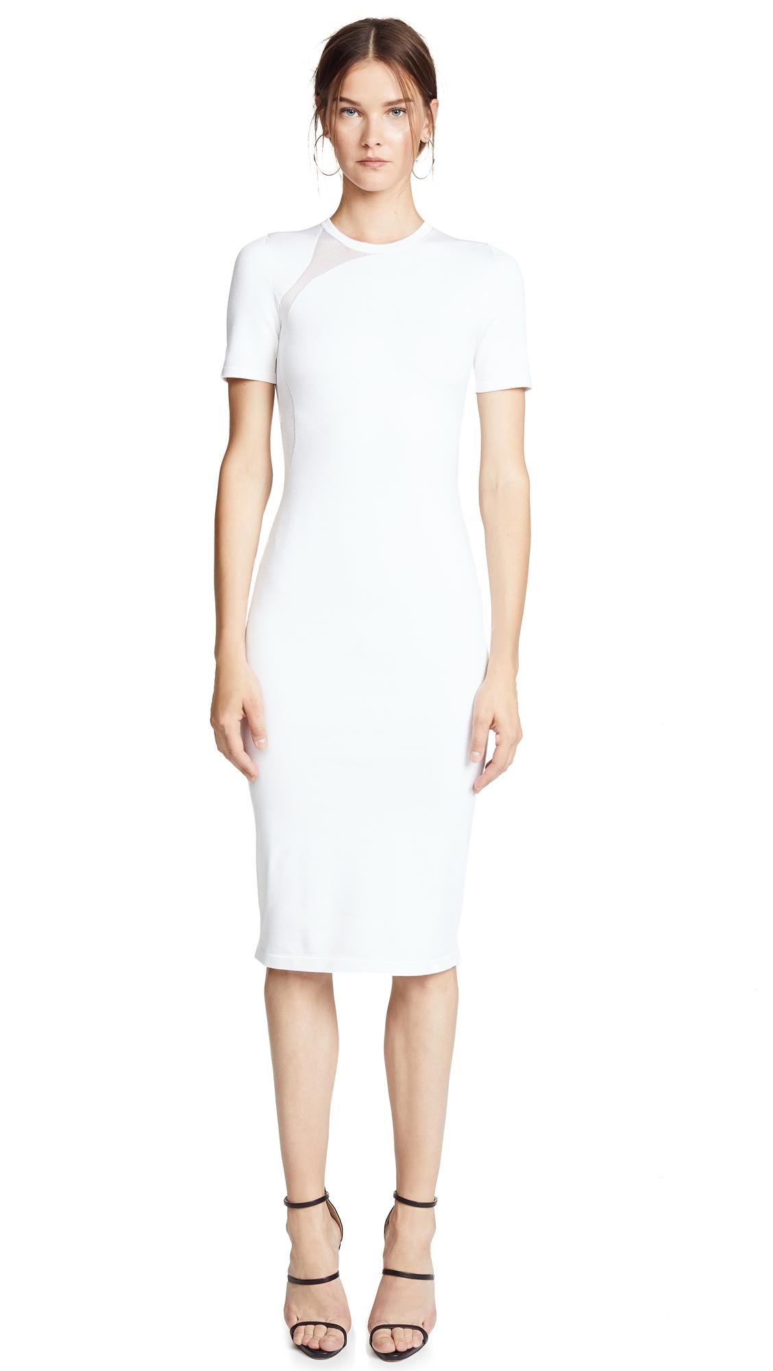 Cushnie Et Ochs White Gala Mesh Panel Dress In White/White