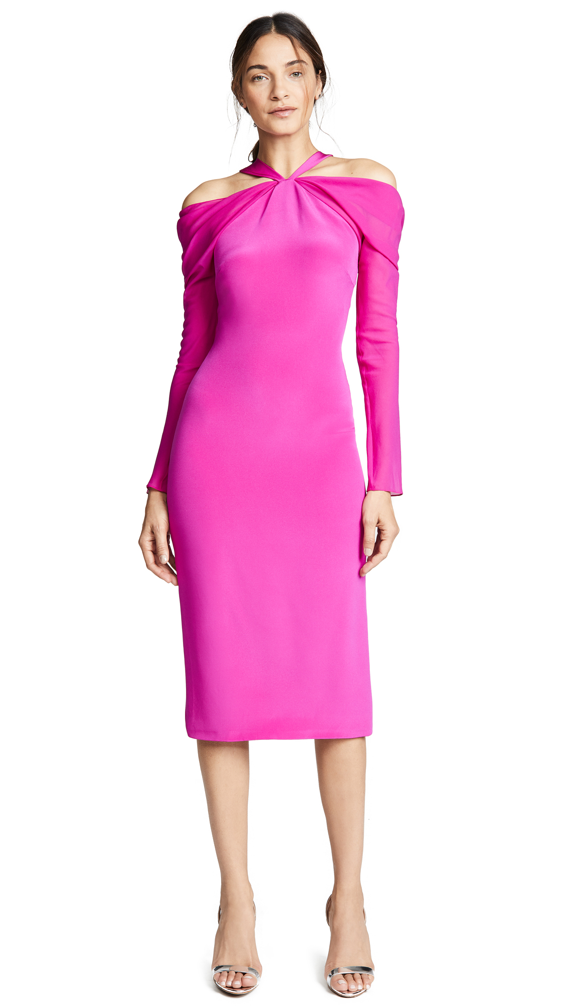 Cold-Shoulder Silk Crepe De Chine Midi Dress, Fuschia