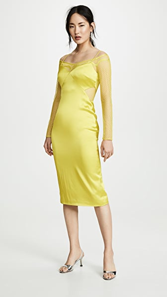 Cushnie Dresses PENCIL DRESS WITH LONG SLEEVE LACE UNDERLAY