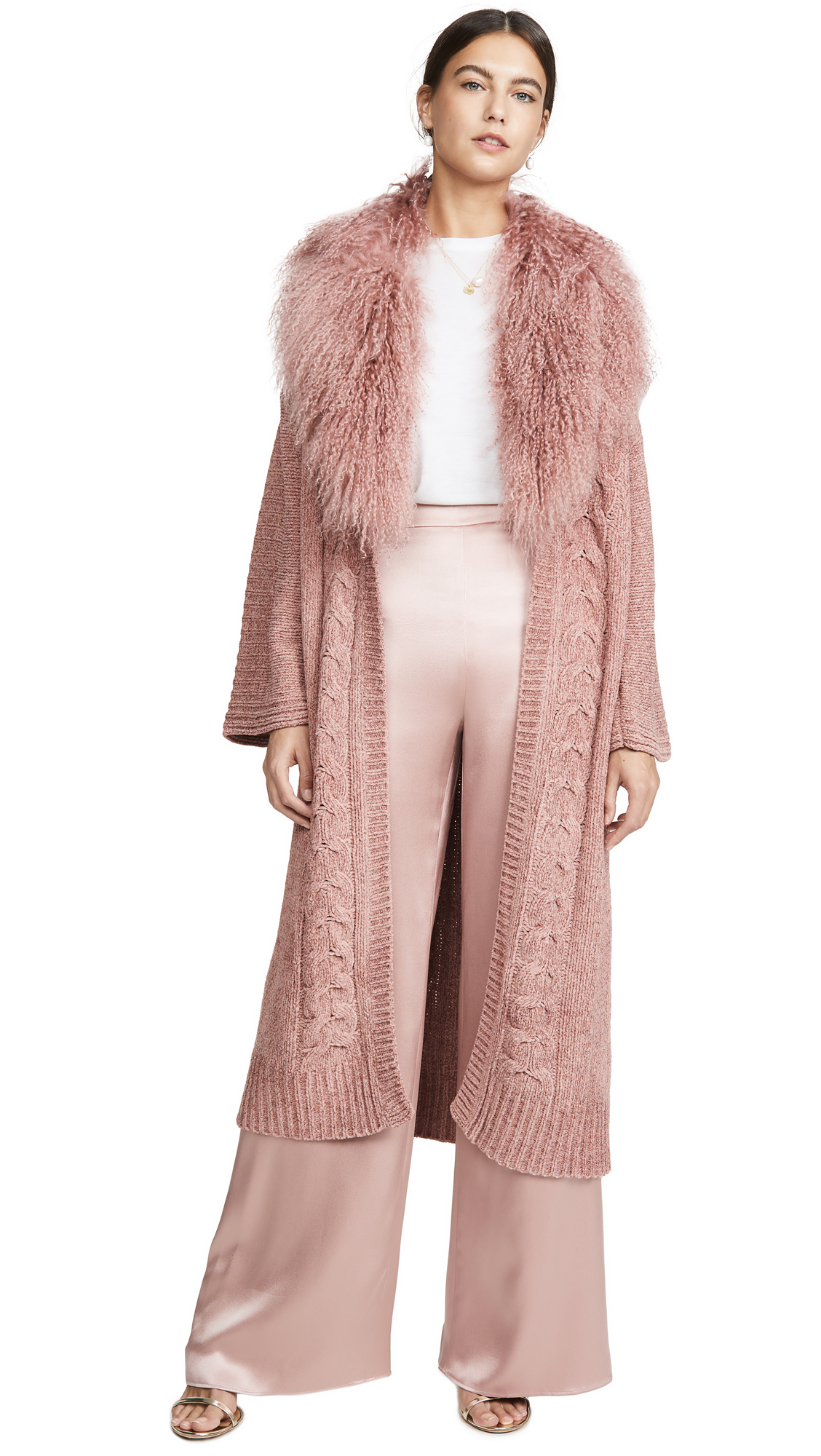 Buy Cushnie online - photo of Cushnie Cable Knit Long Cardigan with Detachable Tibet Lamb