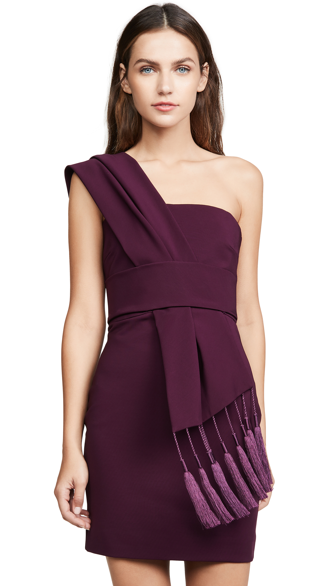 Buy Cushnie online - photo of Cushnie Fitted Mini Dress with Scarf Detail Across Bodice