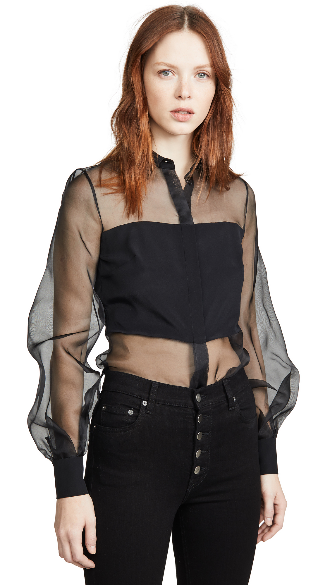 Buy Cushnie online - photo of Cushnie Button Down Sheer Blouse