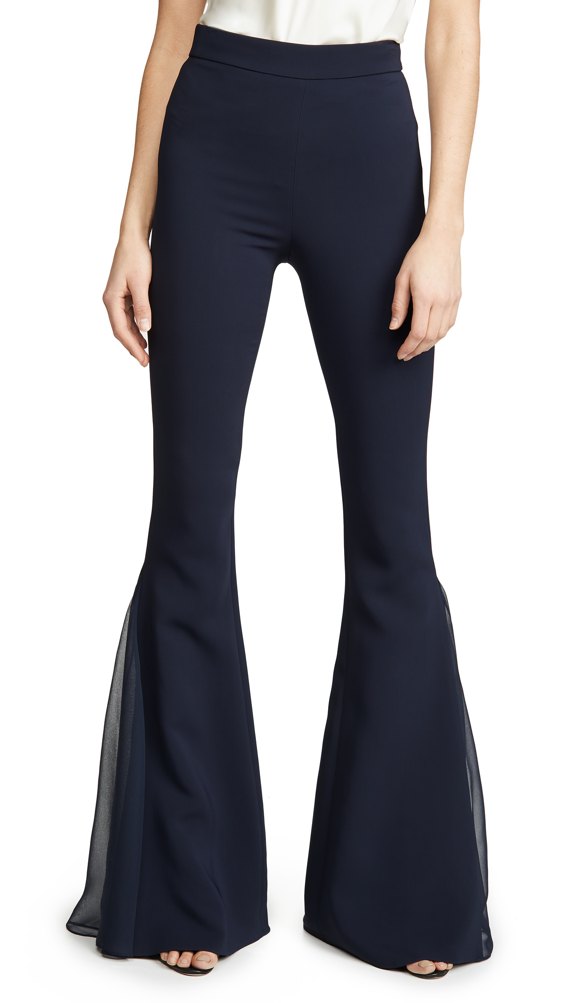 Buy Cushnie online - photo of Cushnie High Waisted Flare Pants with Chiffon Pleated Insert