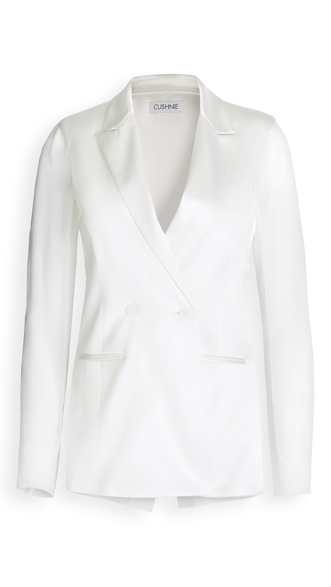 Cushnie Double Breasted Jacket with Chiffon Sleeves & Back