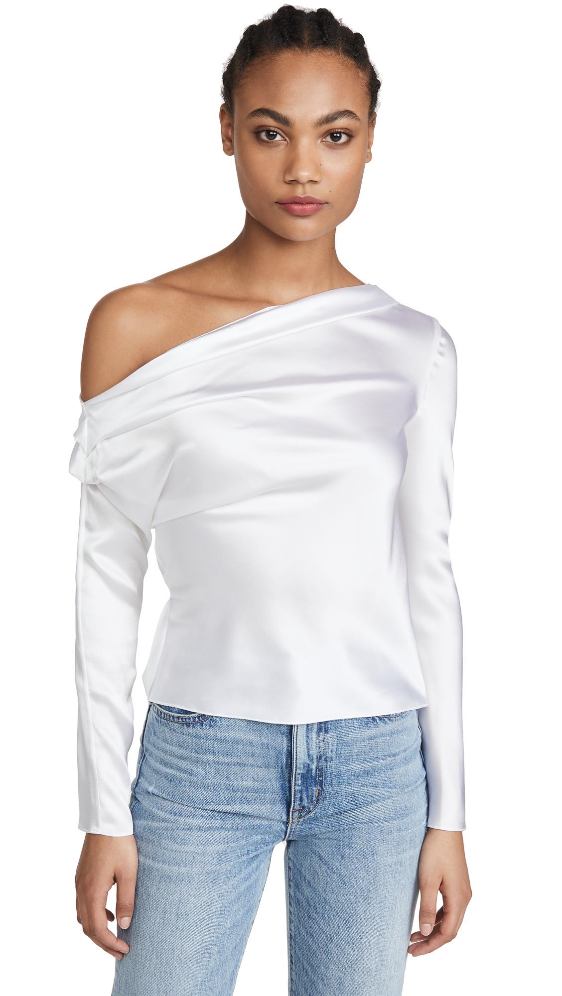 Buy Cushnie online - photo of Cushnie Long Sleeved One Shoulder Drape Blouse