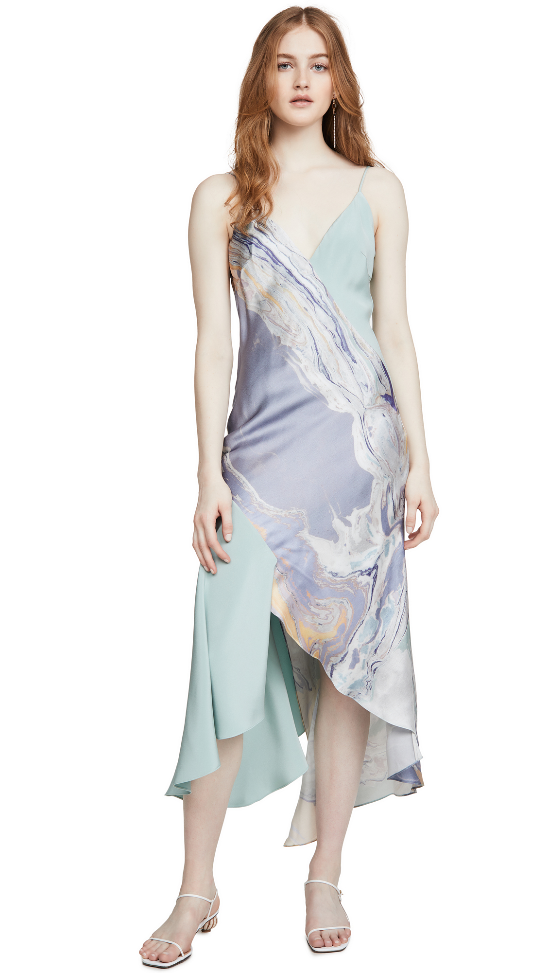 Buy Cushnie online - photo of Cushnie V Neck Slip Dress with Asymmetrical Style Lines