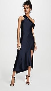 Cushnie Платье-комбинация с открытыми плечами и юбкой-каскадом