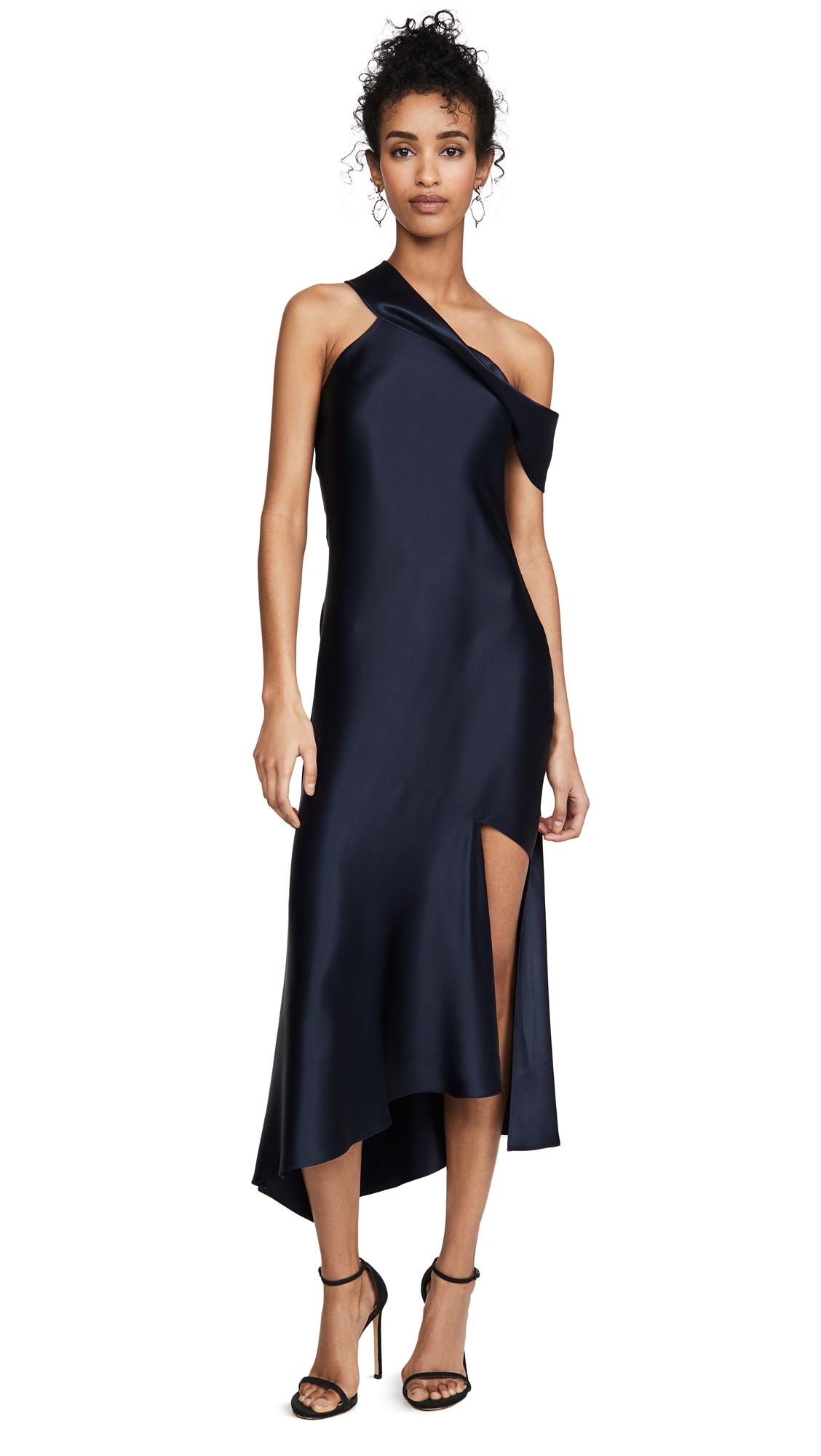 Buy Cushnie online - photo of Cushnie Off the Shoulder Slip Dress with Cascading Skirt