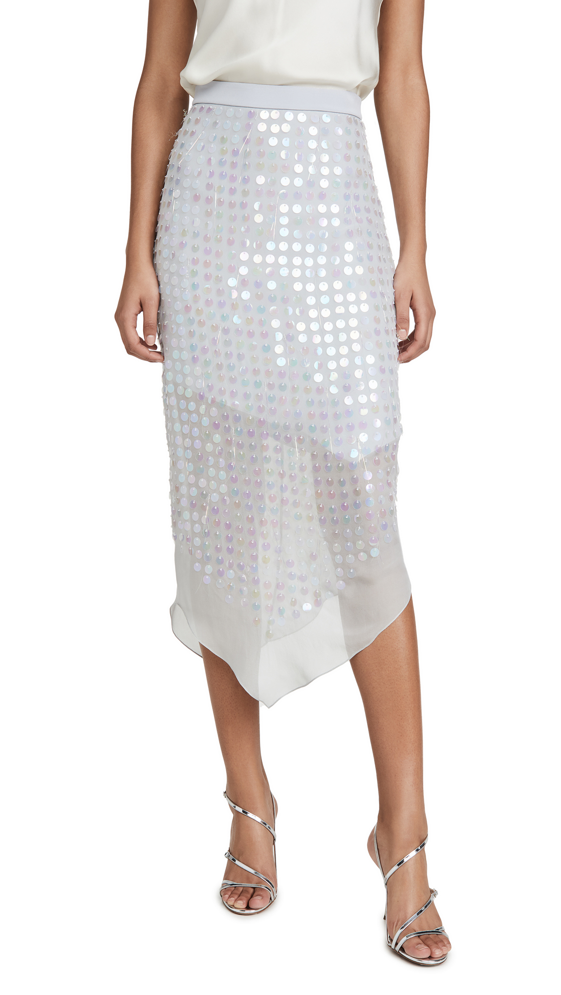 Buy Cushnie online - photo of Cushnie High Waisted Sheer Skirt with Iridescent Paillettes