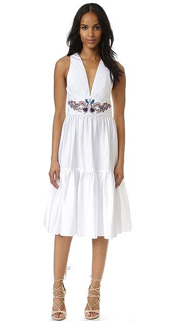 Cynthia Rowley Embroidered Twill Ruffle Dress