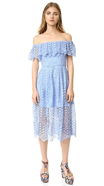 Cynthia Rowley Floral Mosaic Midi Dress - Slate Blue