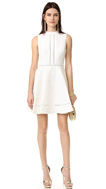 Cynthia Rowley Textured Jacquard Fit and Flare Mock Neck Dress