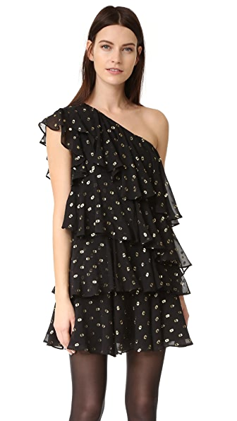 Cynthia Rowley Polka Dot One Shoulder Ruffle Dress - Black/Gold