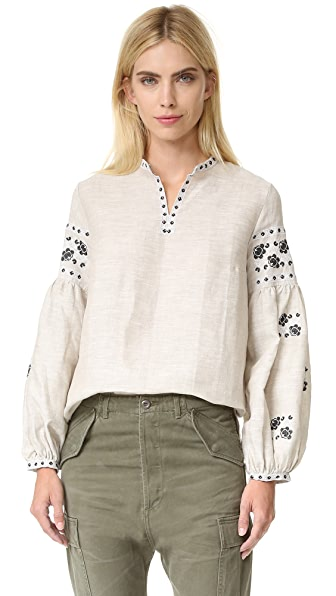 Cynthia Rowley Embroidered Bohemian Blouse
