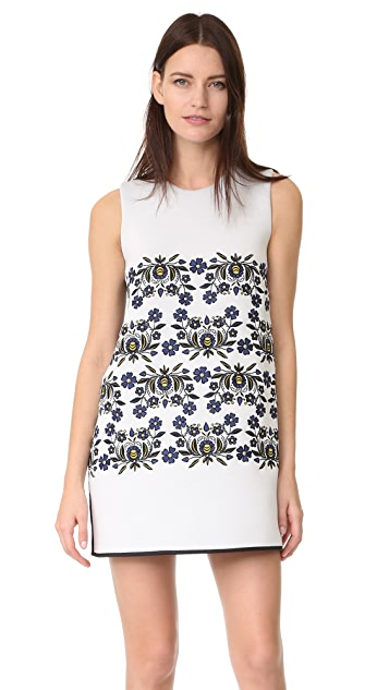 Cynthia Rowley Bonded Embroidered Shift Dress