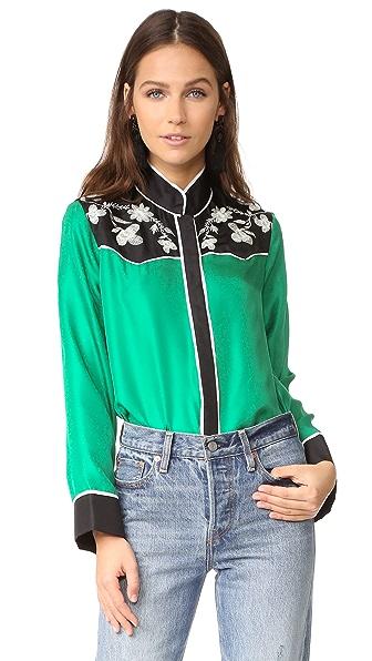 Cynthia Rowley Embroidered Yoke Silk Shirt