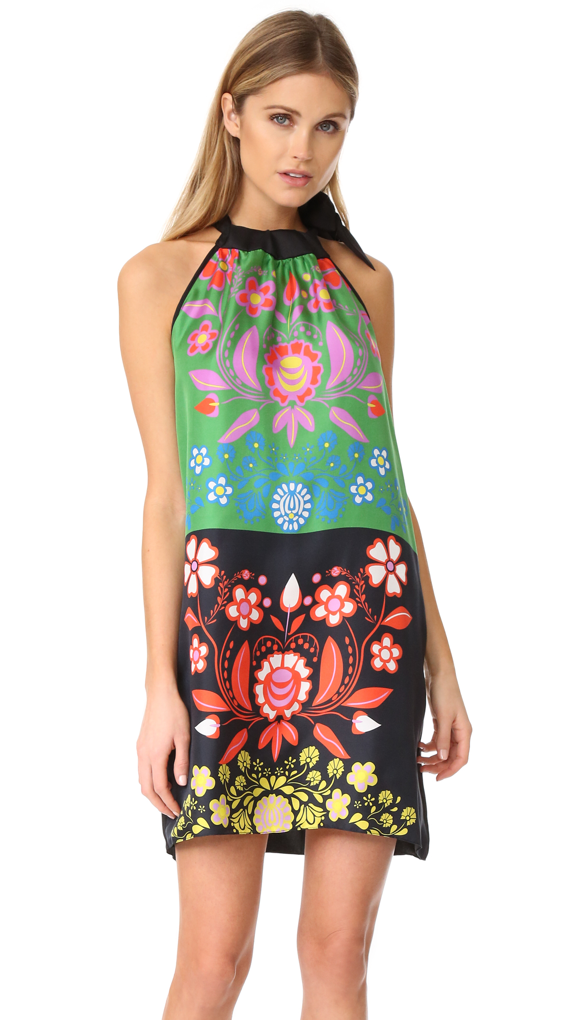 Cynthia Rowley Silk Scarf Print Tie Neck Dress