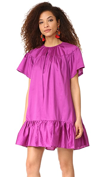 Cynthia Rowley Polished Cotton Ruffle Dress