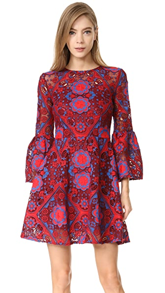 Cynthia Rowley Lace Ruffle Sleeve Dress - Red