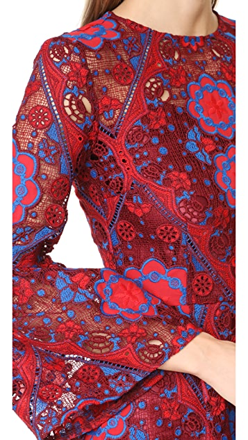 Cynthia Rowley Lace Ruffle Sleeve Dress