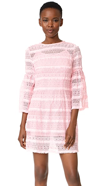 Cynthia Rowley Eyelet Bell Sleeve Dress - Pink