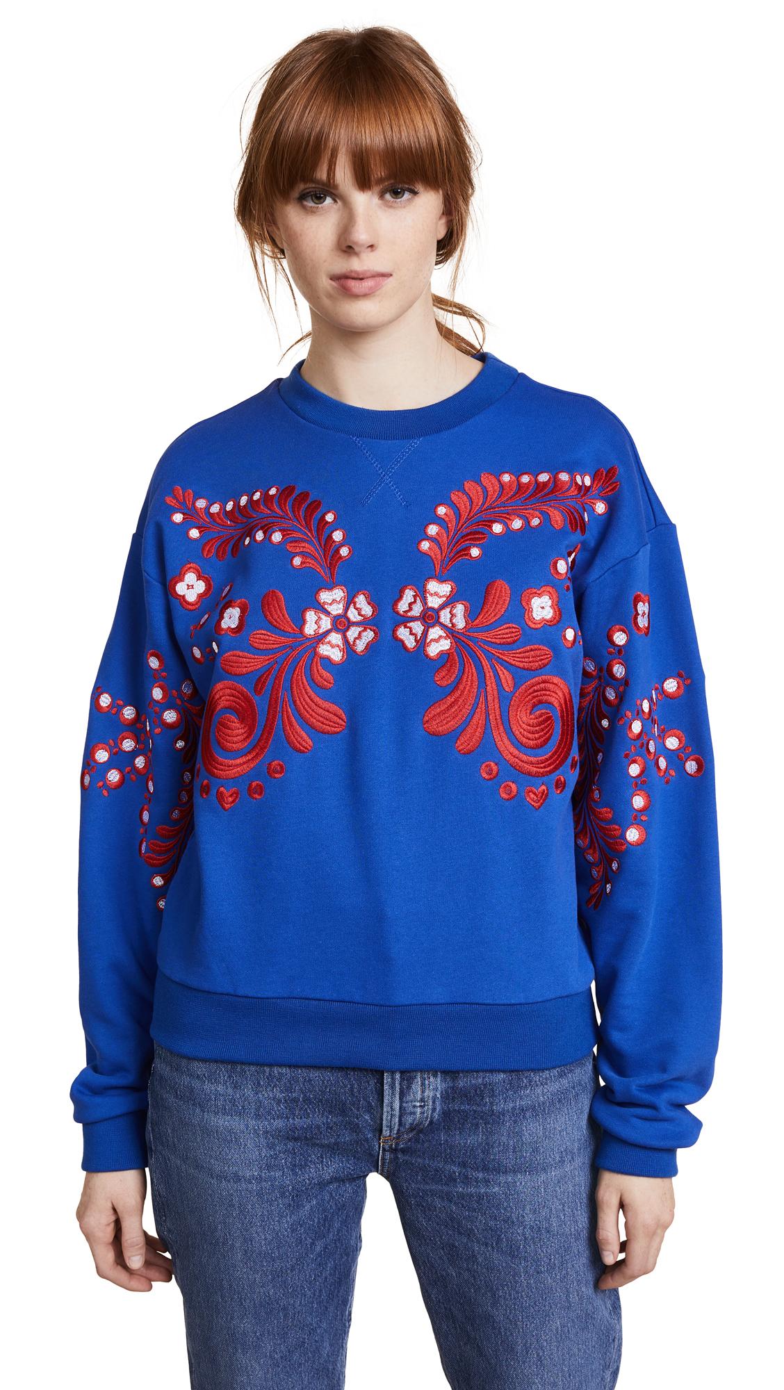 Cynthia Rowley Bleecker Embroidered Sweatshirt In Royal