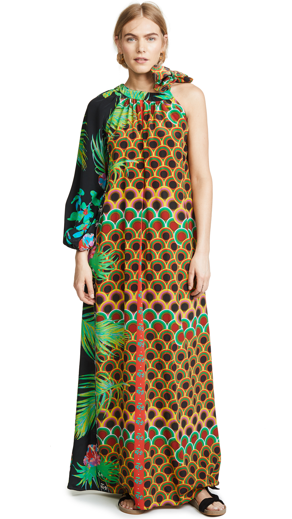 Cynthia Rowley Offshore One Sleeve Dress In Jungle Paradise