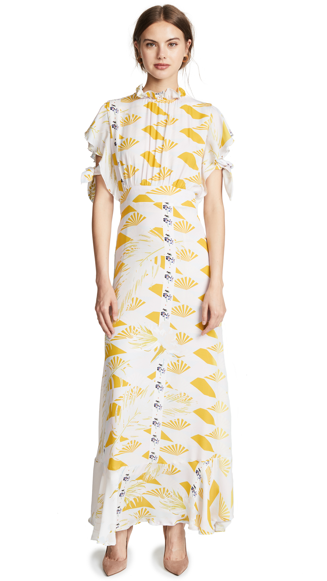 Cynthia Rowley Talia Printed Silk Dress In Jungle Sunset