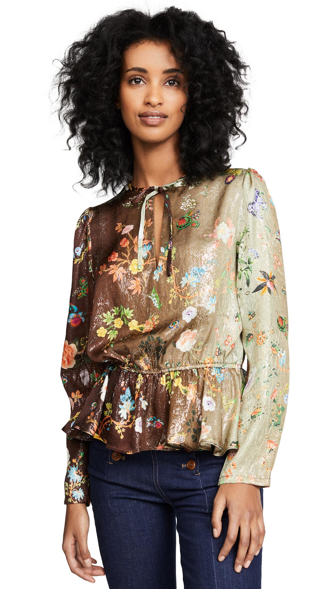 Cynthia Rowley Printed Silk Top - Garden Ombre