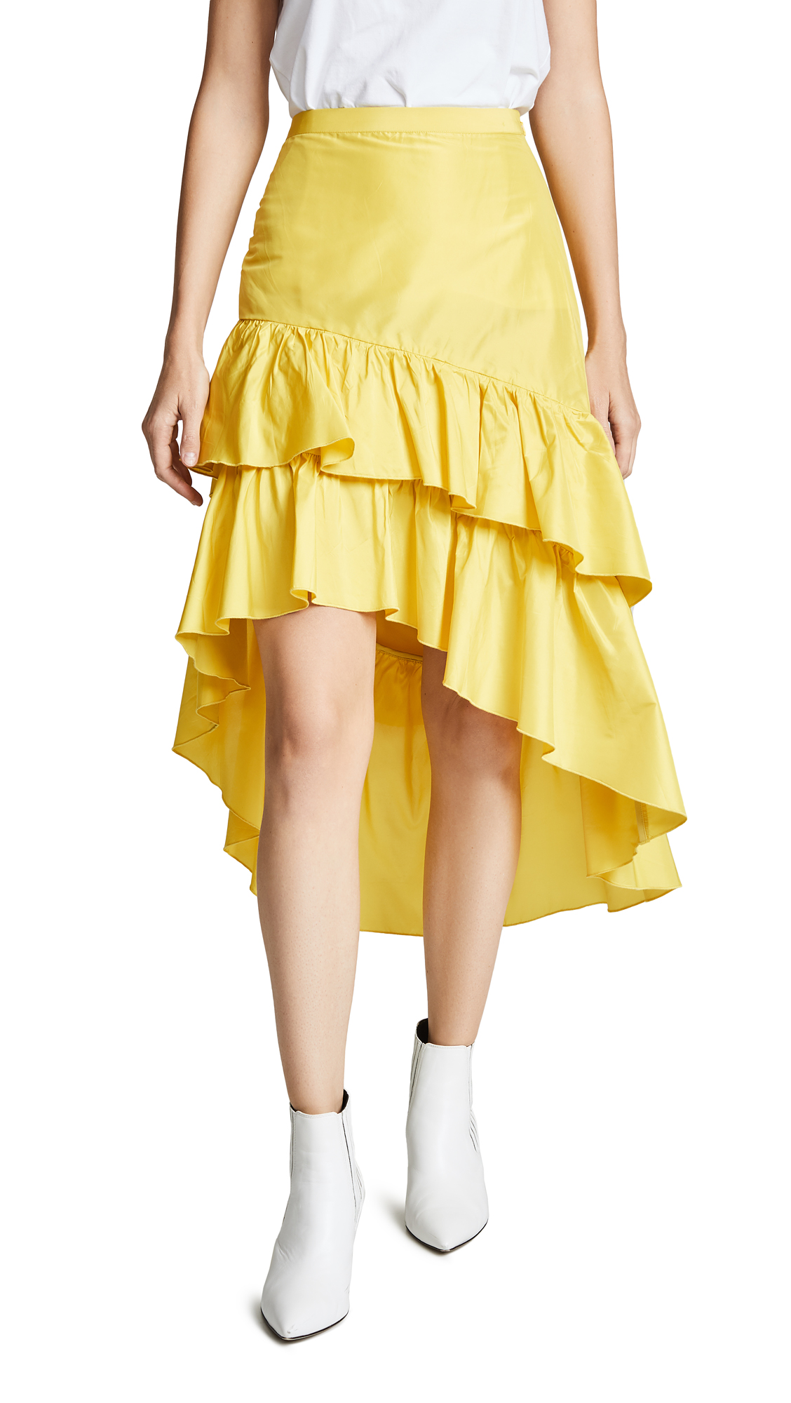 Cynthia Rowley High Low Tiered Ruffle Skirt - Limoncello