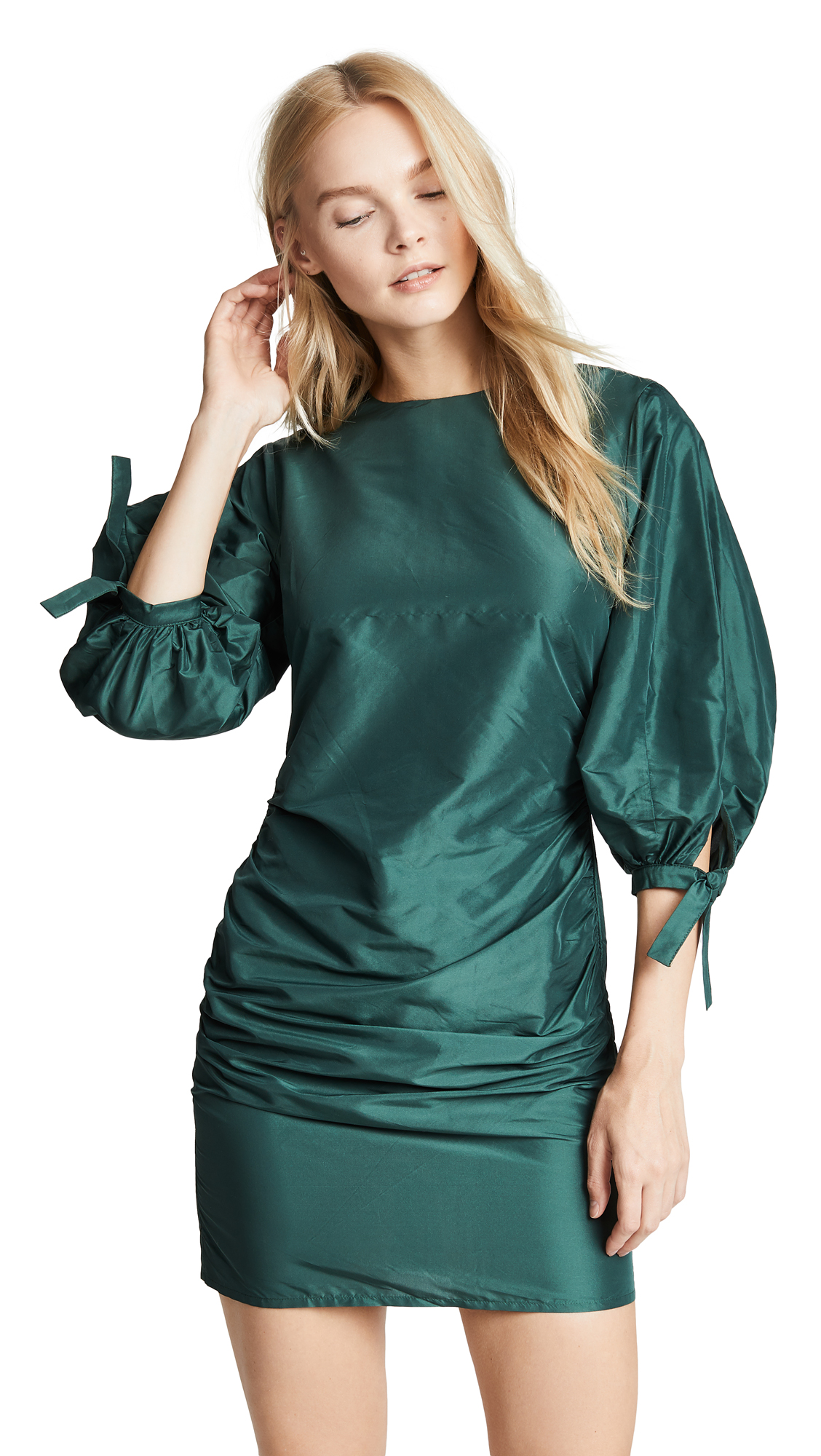 Cynthia Rowley Ruched Mini Dress - Emerald