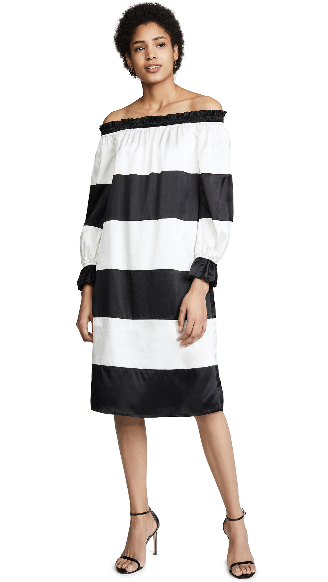Cynthia Rowley Shanley Striped Off Shoulder Dress - Black/Cream