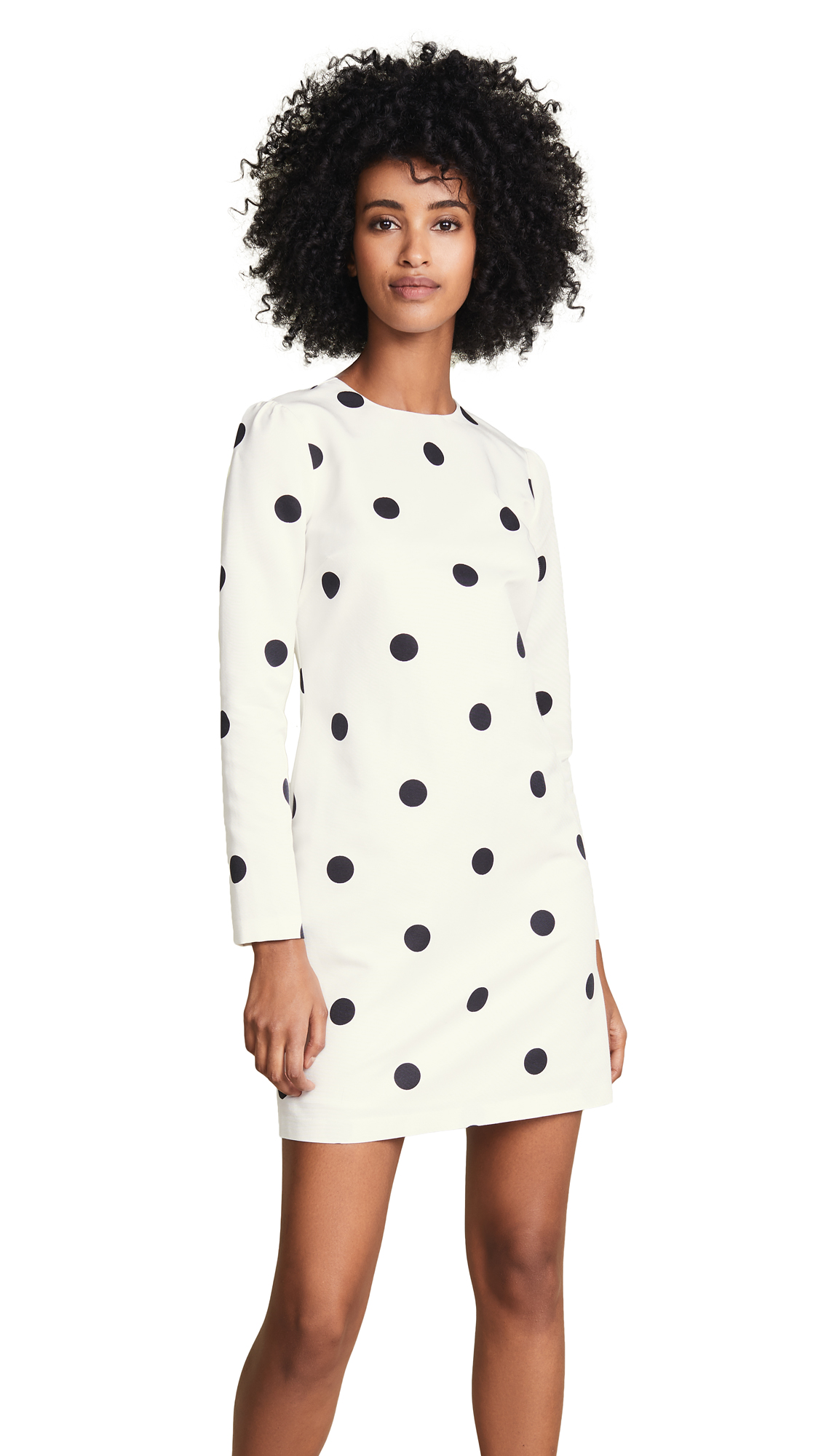 Cynthia Rowley Polka Dot Long Sleeve Shift Dress In Black Dot
