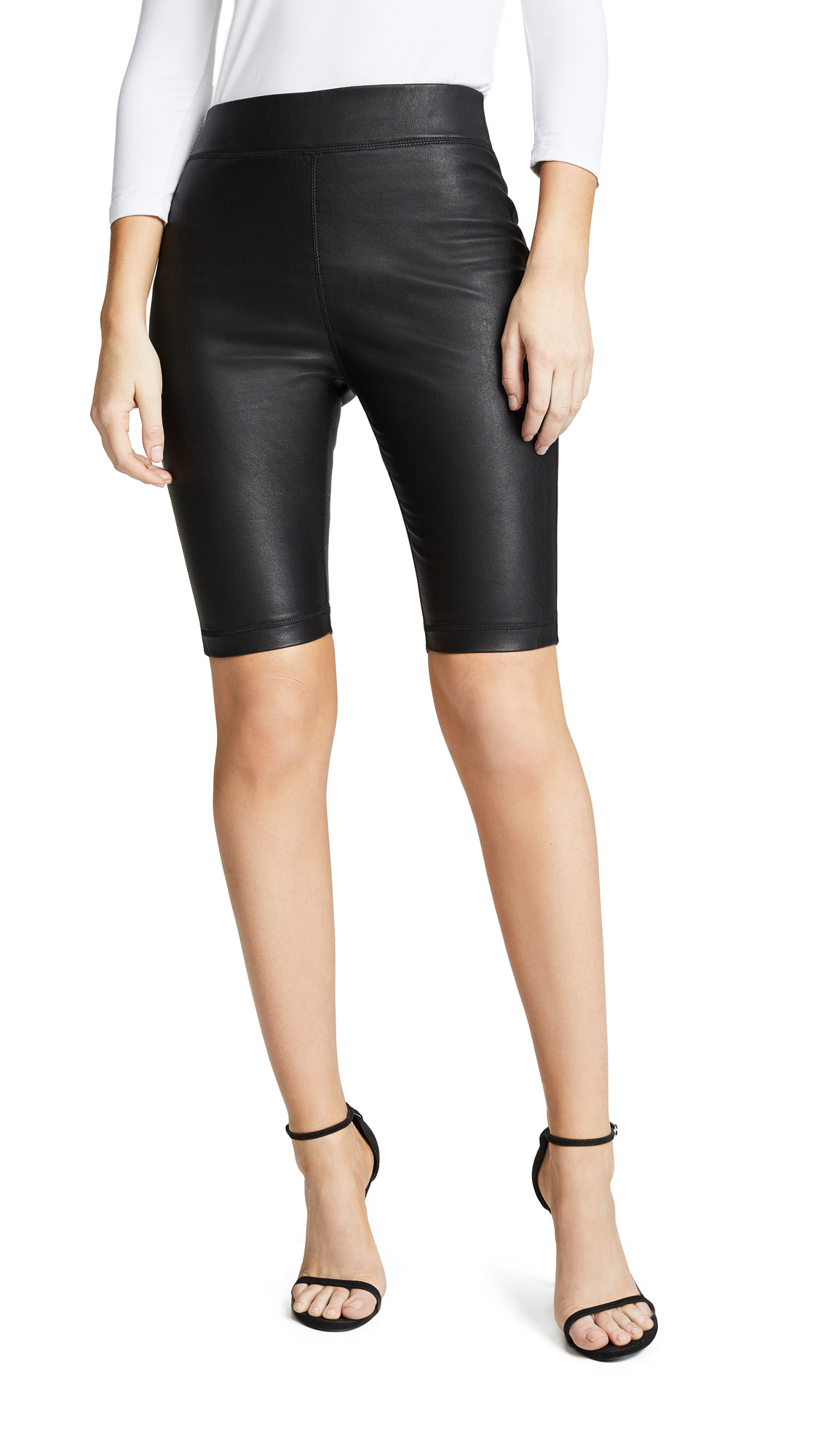 Cynthia Rowley Leather Bike Short - Black