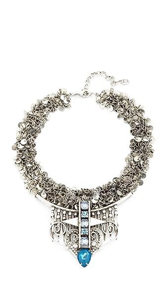 DANNIJO Amina Necklace - Ox Silver/Assorted Blue