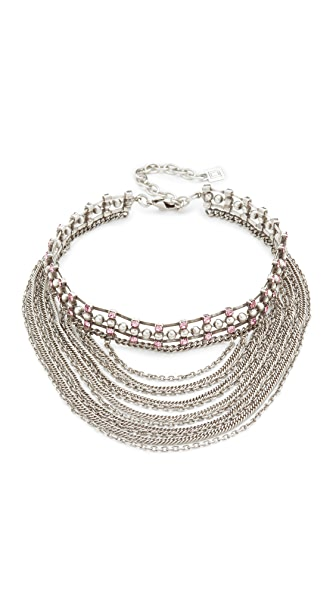DANNIJO Odion Choker Necklace - Ox Silver/Light Pink