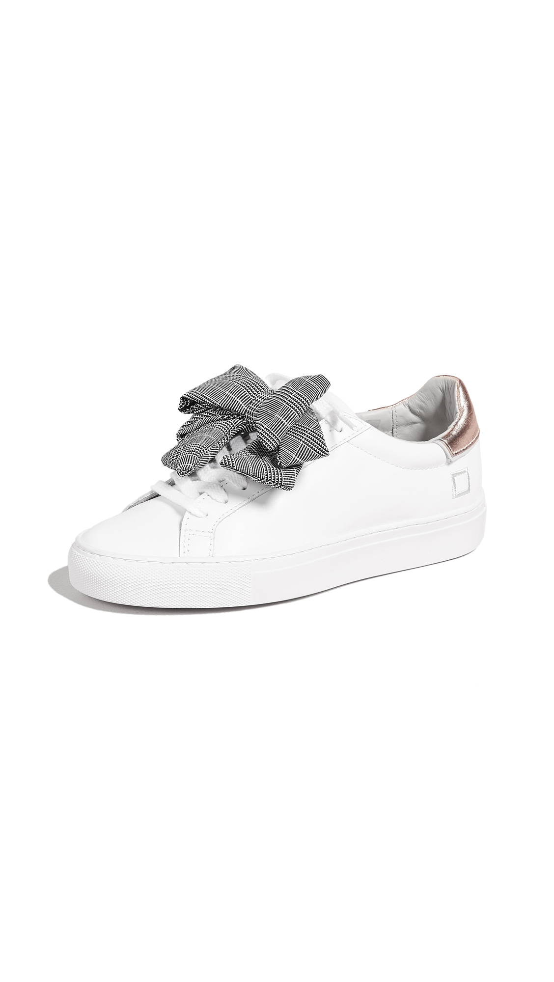 D.A.T.E. Newman Bow Check Sneakers - White/Rose