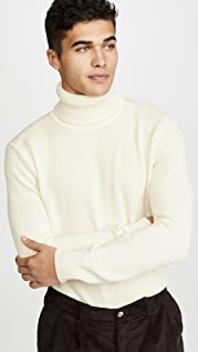 De Bonne Facture Italian Pique Long Sleeve Turtleneck Sweater