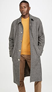 De Bonne Facture Italian Wool Houndstooth Long Mac Coat