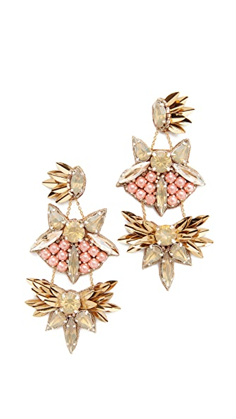 Deepa Gurnani Deepa By Deepa Gurnani Queenie Earrings In Gold/Pink