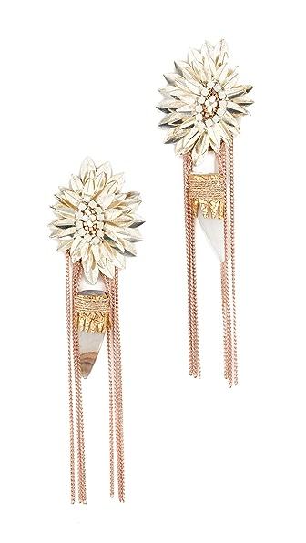Deepa Gurnani Nazar Earrings In Silver/Peach