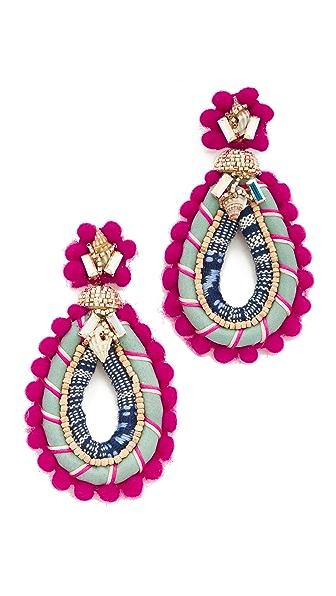 Deepa Gurnani Masara Earrings In Fuchsia/Multi