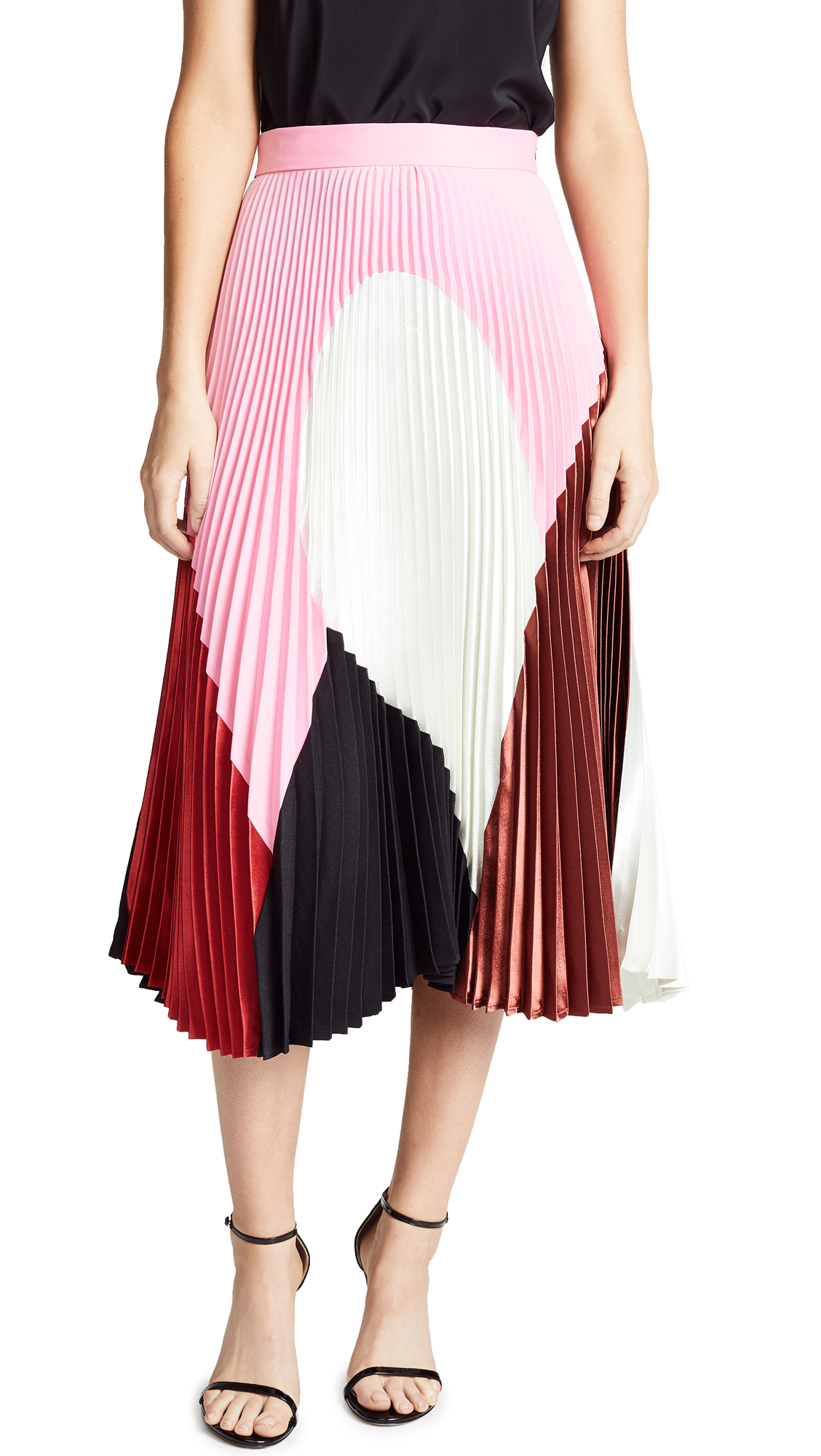 Clara Geometric-Print Pleated A-Line Midi Skirt, Multi