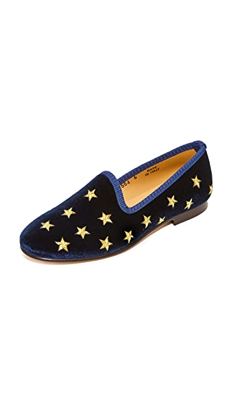 Del Toro Silver & Gold Stars Smoking Slippers - Navy