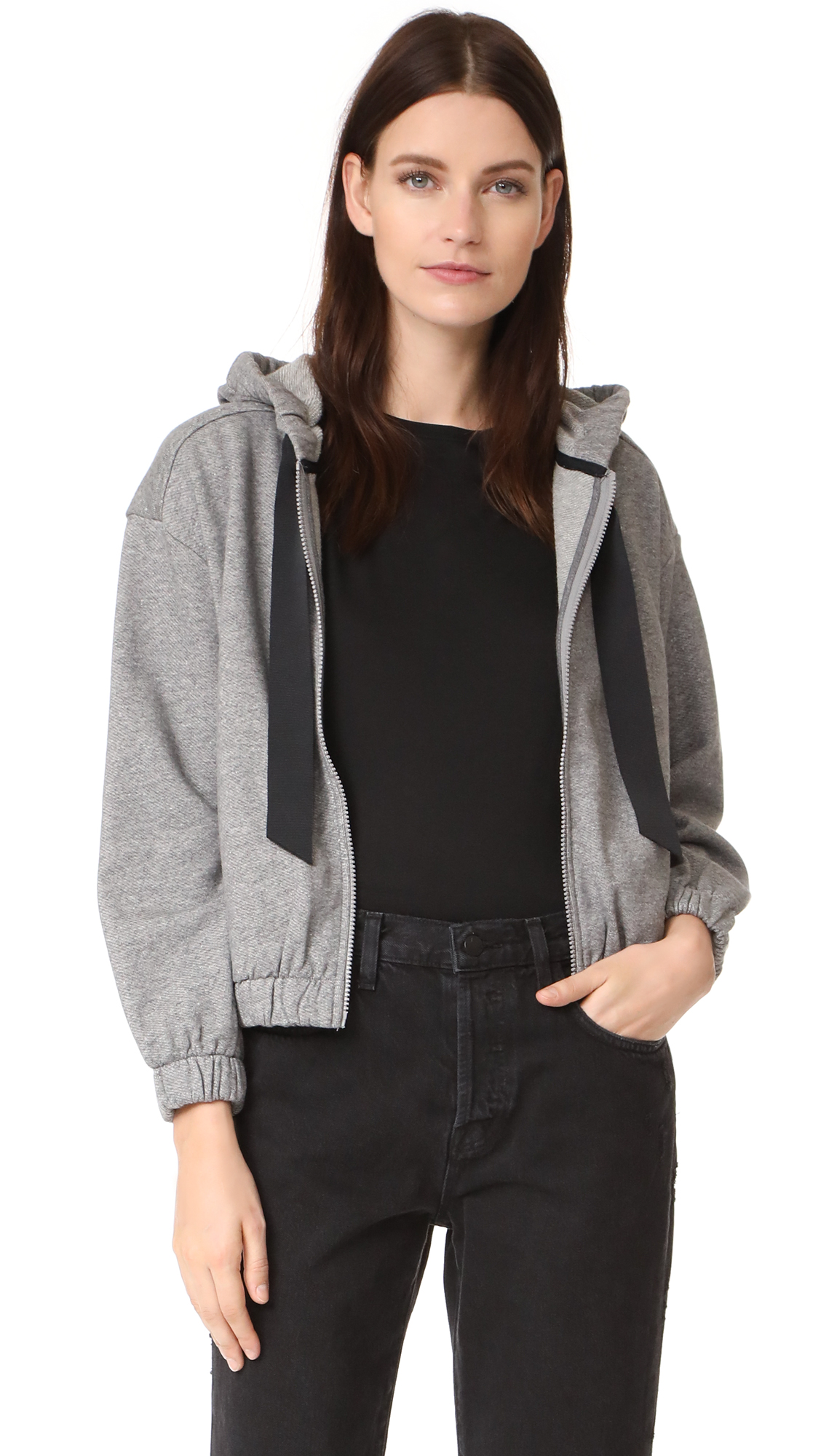 DEMYLEE Seanne Zip Up Sweatshirt - Medium Heather Grey