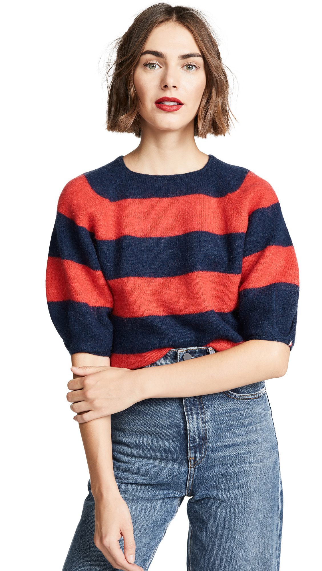 DEMYLEE X Clare V Le Pouf Sweater in Navy & Red Striped Mohair