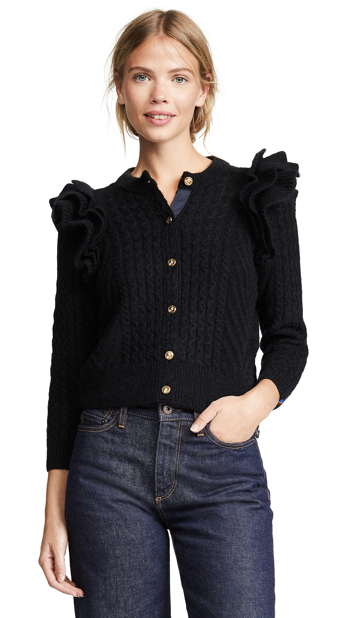 DEMYLEE X Clare V Nora Cardigan in Black Mohair