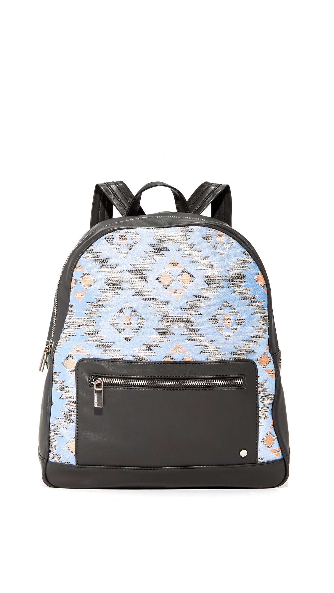 Metallic threads add a subtle glamour to this patterned Deux Lux backpack. Faux leather zip front pocket with a polished logo stud. Wraparound top zip opens to a lined, 3 pocket interior. Locker loop and adjustable shoulder