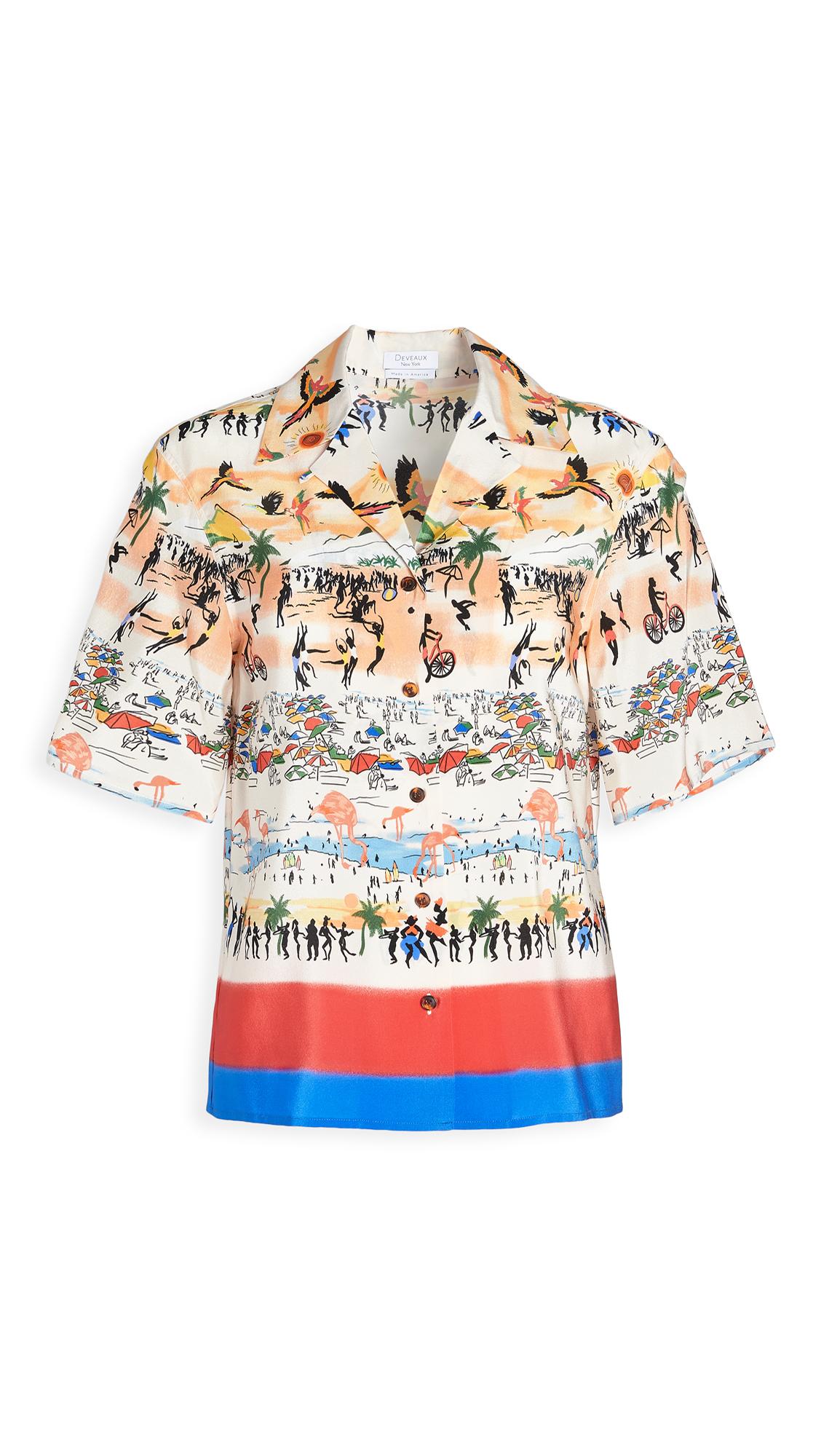 Deveaux Postcard Print Resort Shirt