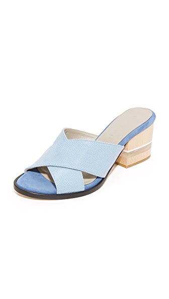 Dear Frances Poser Crisscross Mules - Sea Blue